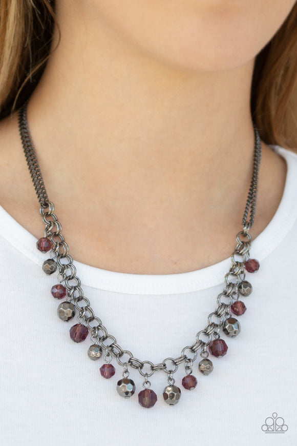 Paparazzi And The Crowd Cheers - Purple - Faceted Beads - Gunmetal Chains Necklace & Earrings - Lauren's Bling $5.00 Paparazzi Jewelry Boutique
