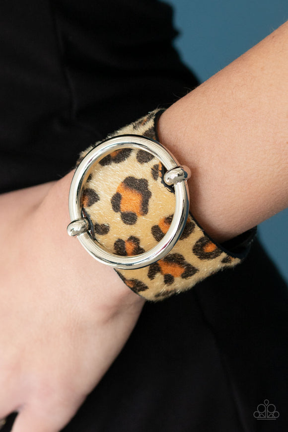 Paparazzi Asking FUR Trouble - Brown - Thick Black Leather Band - Fuzzy Cheetah Pattern - Bracelet