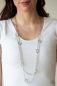Paparazzi Back For More - Green - Beads - Silver Shimmery Chains - Necklace & Earrings - Lauren's Bling $5.00 Paparazzi Jewelry Boutique