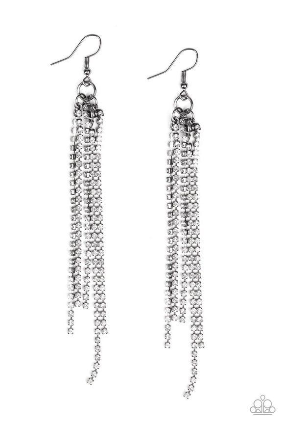 Paparazzi Center Stage Status - Black - White Rhinestones - Earrings - Life of the Party Exclusive December 2019