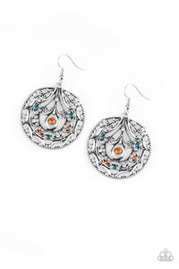Paparazzi Choose To Sparkle - Multi - Blue and Orange Rhinestones - Filigree Earrings - Lauren's Bling $5.00 Paparazzi Jewelry Boutique