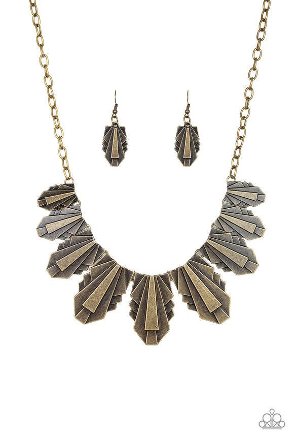 Paparazzi Cougar Cave - Brass - Necklace and matching Earrings - Lauren's Bling $5.00 Paparazzi Jewelry Boutique