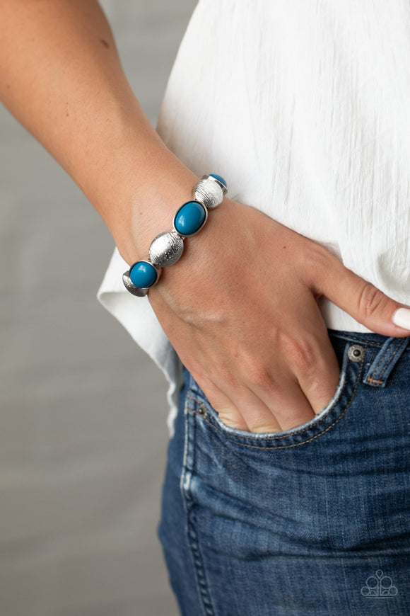 Paparazzi  Decadently Dewy - Blue - Silver Stretchy Bands - Bracelet