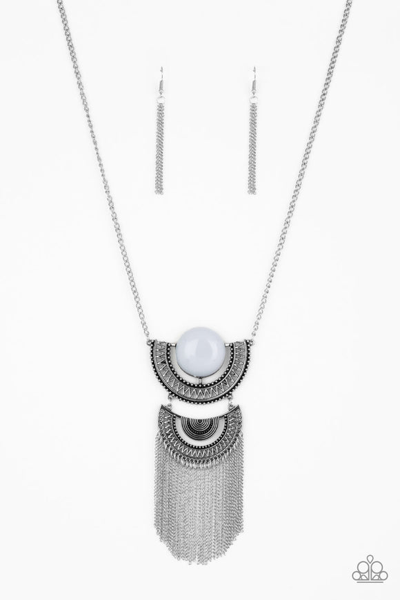 Paparazzi Desert Diviner - Silver - Gray Bead - Necklace & Earrings - Lauren's Bling $5.00 Paparazzi Jewelry Boutique