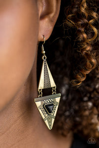 Paparazzi El Paso Edge - Brass - Black Stone - Triangular Frames Earrings - Lauren's Bling $5.00 Paparazzi Jewelry Boutique