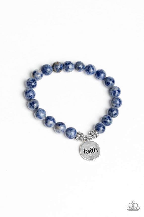 Paparazzi FAITH It, Till You Make It - Blue - Glassy Stone Beads -