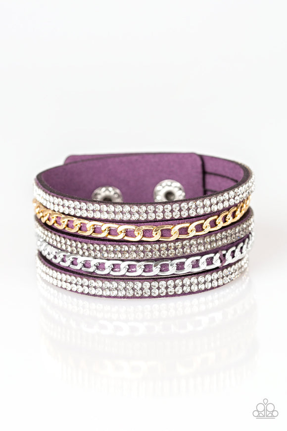 Paparazzi Fashion Fiend - Purple - White & Smoky Rhinestones - Snap Bracelet