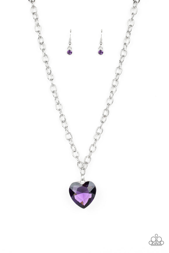 Pre-Order Ships 1/30 - Paparazzi Flirtatiously Flashy - Purple - Heart Shaped Gem - Necklace and matching Earrings