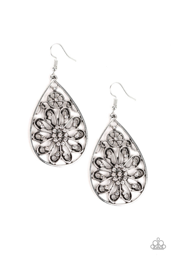 Paparazzi Flowering Finery - White Rhinestones - Filigree Teardrop Silver Earrings - Lauren's Bling $5.00 Paparazzi Jewelry Boutique