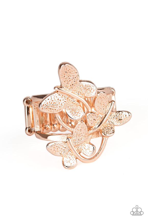 Paparazzi Full Of Flutter - Rose Gold - Trio of Butterflies - Ring - Lauren's Bling $5.00 Paparazzi Jewelry Boutique