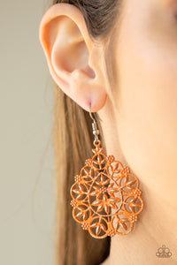 Paparazzi Garden Party Princess - Orange - Flowery Filigree - Frilly Silver Teardrop Earrings - Lauren's Bling $5.00 Paparazzi Jewelry Boutique