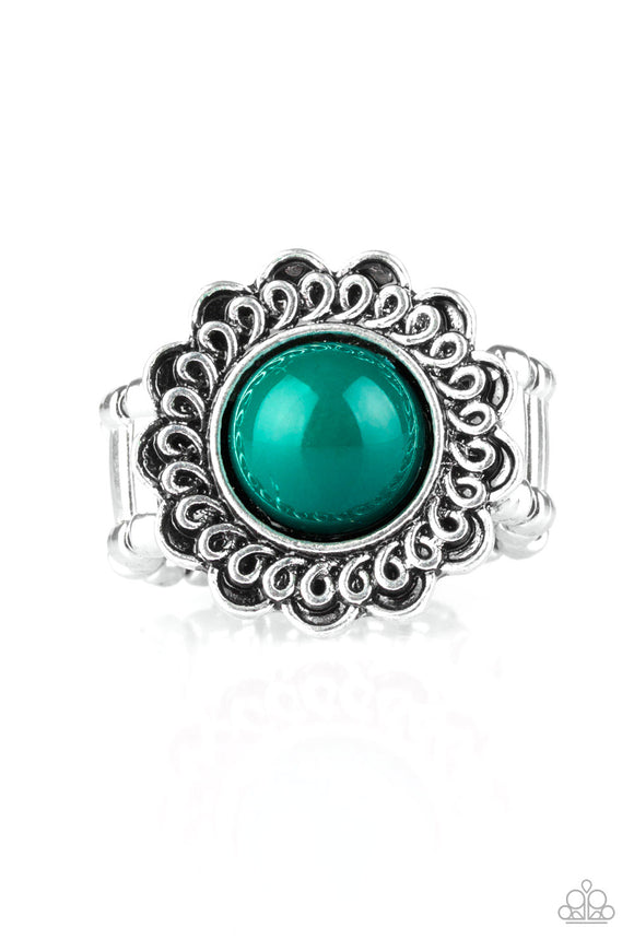 Paparazzi Garden Stroll - Green Bead - Silver Floral Frame Swirling Detail - Ring - Lauren's Bling $5.00 Paparazzi Jewelry Boutique