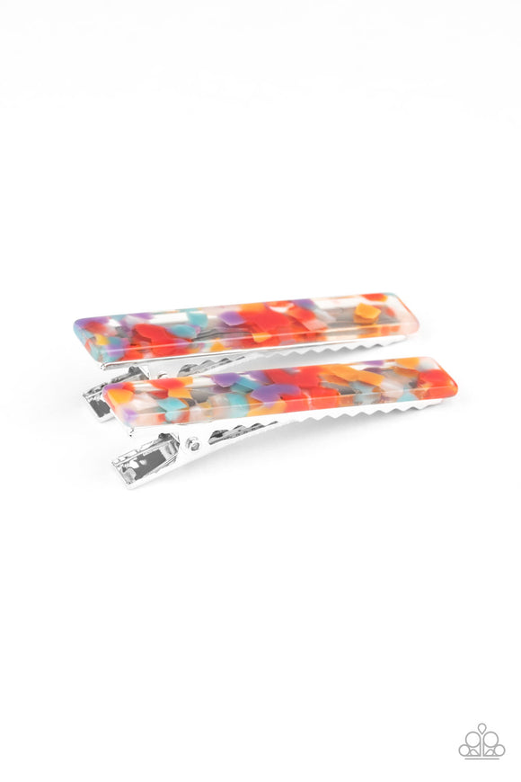 Paparazzi Get Outta HAIR! - Multi - Red, Orange, Blue, White & Purple - Pair of Acrylic Hair Clips - Lauren's Bling $5.00 Paparazzi Jewelry Boutique