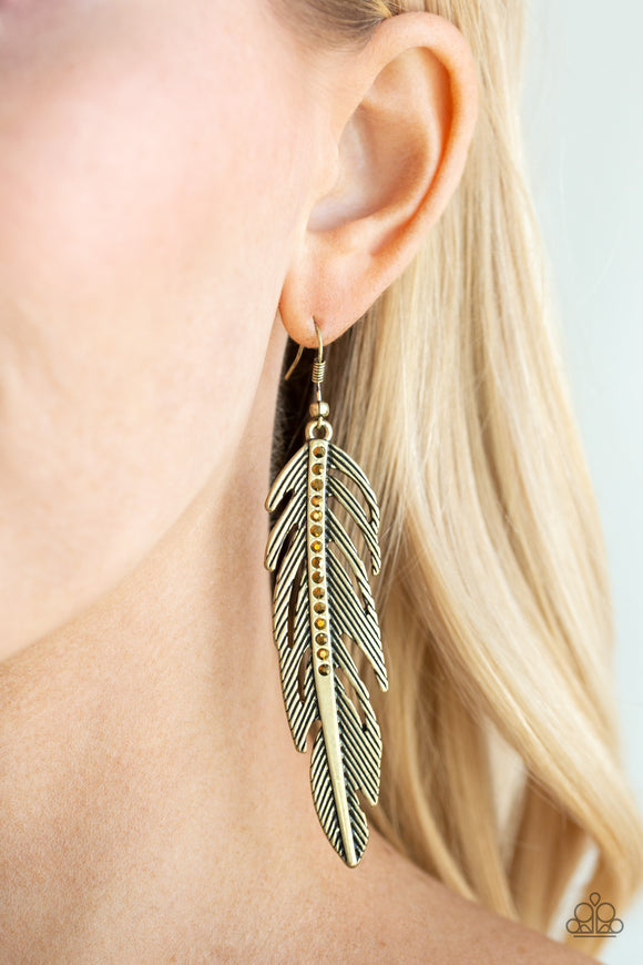 Paparazzi Give Me A ROOST - Brass - Glittery Rhinestones - Feather - Earrings - Lauren's Bling $5.00 Paparazzi Jewelry Boutique