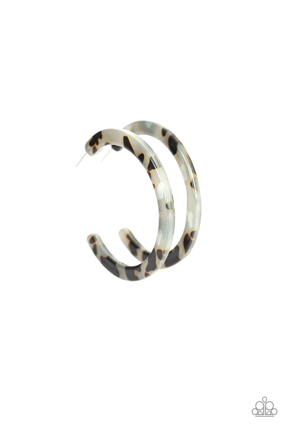 Paparazzi HAUTE-Blooded - White - Tortoise Shell Pattern - Acrylic Hoop Earrings