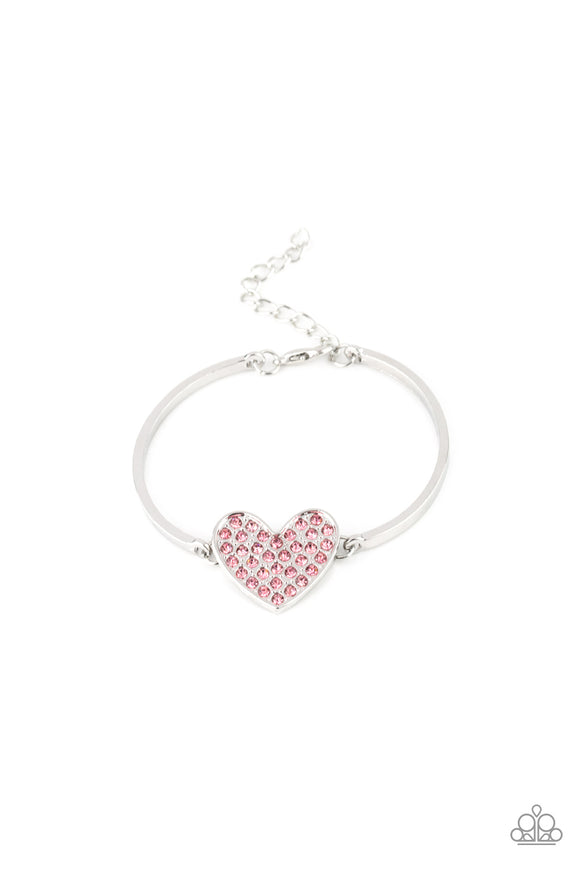 Paparazzi Heart-Stopping Shimmer - Pink Rhinestone Heart - Silver Bracelet