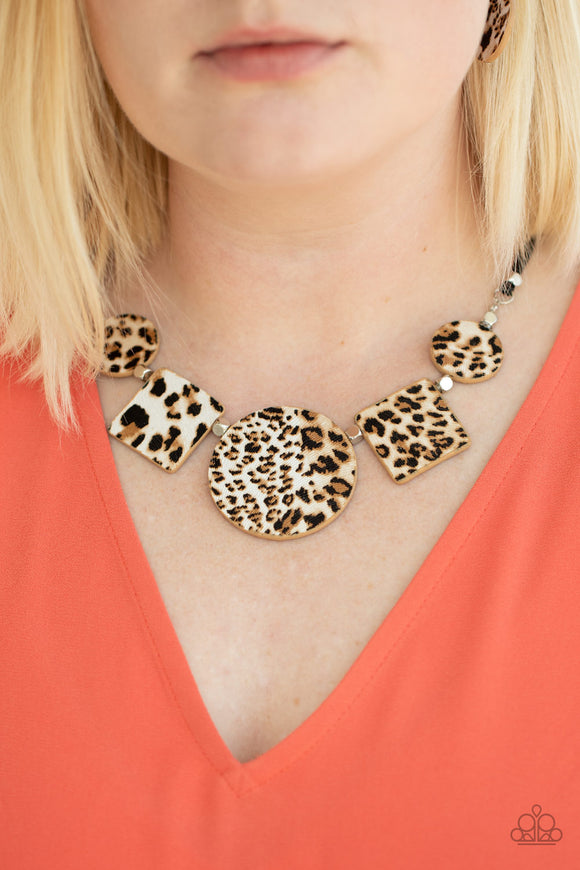 Paparazzi Here Kitty Kitty - Brown - Cheetah Print - Leather Necklace & Earrings