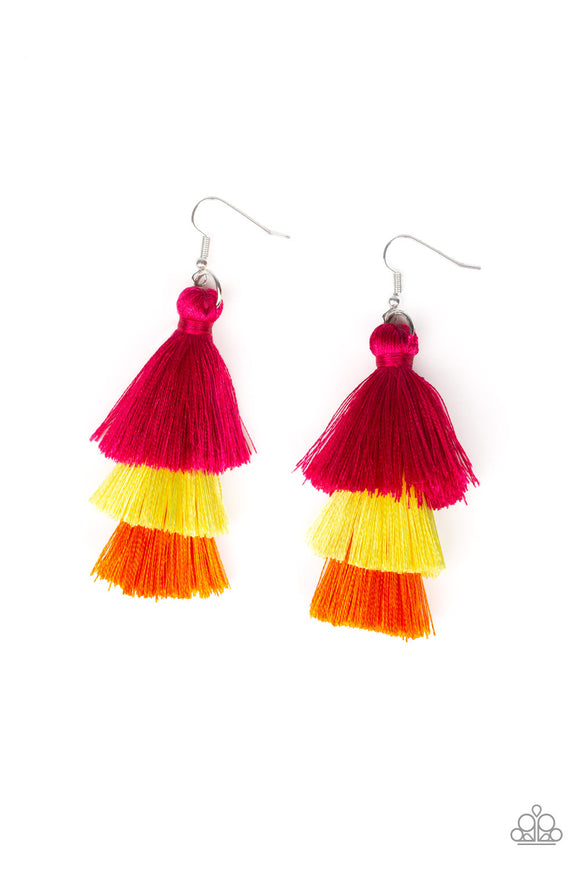 Paparazzi Hold On To Your Tassel! - Multi - Pink, Yellow and Orange Thread / Tassel / Fringe Earrings