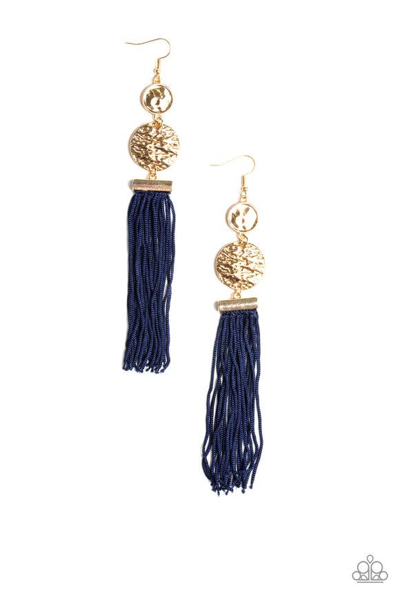 Paparazzi Lotus Gardens - Gold - Blue Cording / Thread / Tassel Streams - Hammered Gold Discs - Earrings