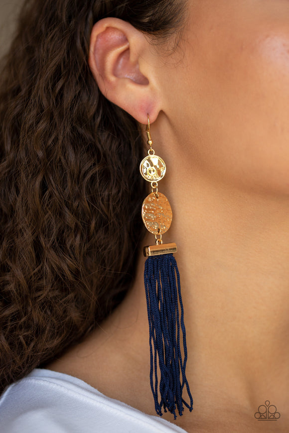 Paparazzi Lotus Gardens - Gold - Blue Cording / Thread / Tassel Streams - Hammered Gold Discs - Earrings - Lauren's Bling $5.00 Paparazzi Jewelry Boutique