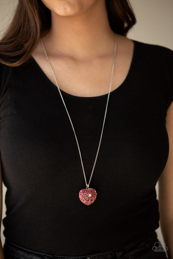 Paparazzi Love Is All Around - Red - Filigree Locket Like Heart Pendant - Necklace and matching Earrings - Lauren's Bling $5.00 Paparazzi Jewelry Boutique
