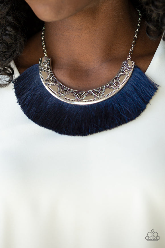 Paparazzi Might and MANE - Blue - Thread / Fringe - Silver Necklace & Earrings - Lauren's Bling $5.00 Paparazzi Jewelry Boutique