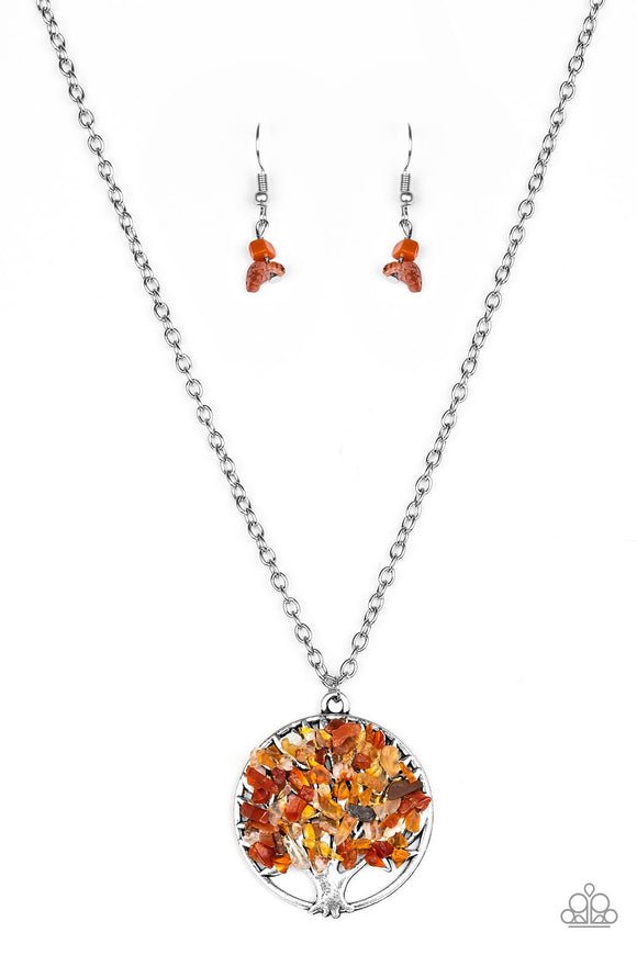Paparazzi Naturally Nirvana - Orange Rock - Colorful Leaves Pendant - Necklace and matching Earrings
