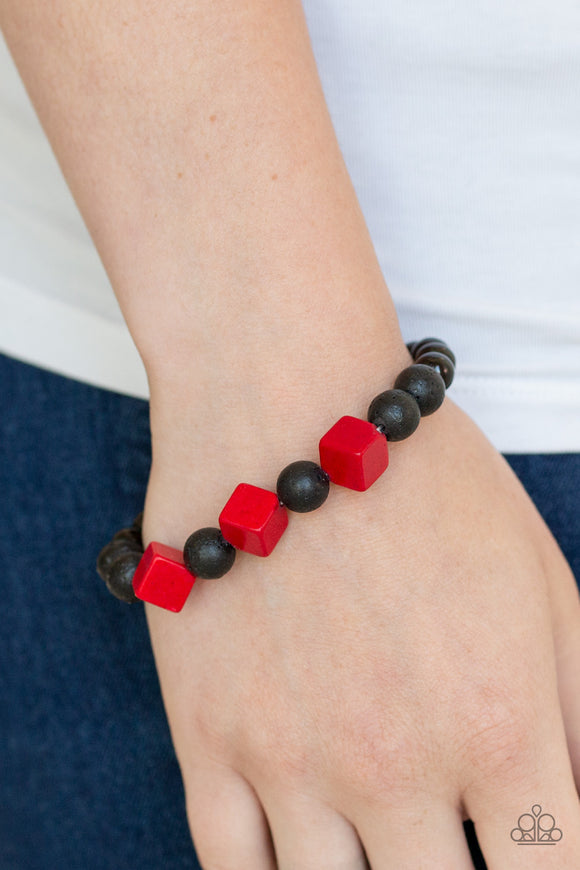 Paparazzi Purpose - Red - Black Lava Rock Beads - Wooden Cubes - Stretchy Band Bracelet - Lauren's Bling $5.00 Paparazzi Jewelry Boutique