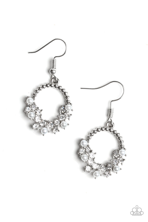 Paparazzi Refined Razzle - White - Pearls and Rhinestones - Silver Hoop Earrings - Lauren's Bling $5.00 Paparazzi Jewelry Boutique