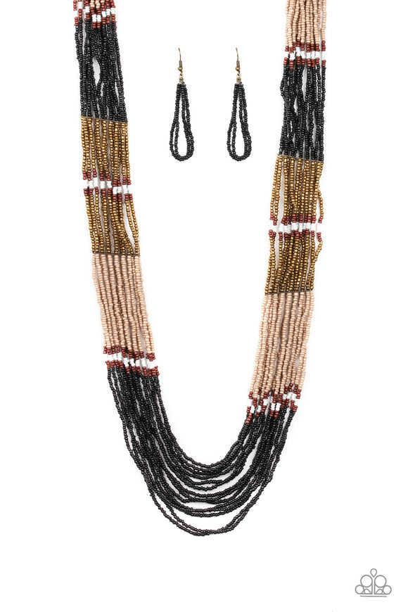 Paparazzi Rio Roamer - Black - Brass, Brown, Tan and White Seed Beads - Necklace and matching Earrings