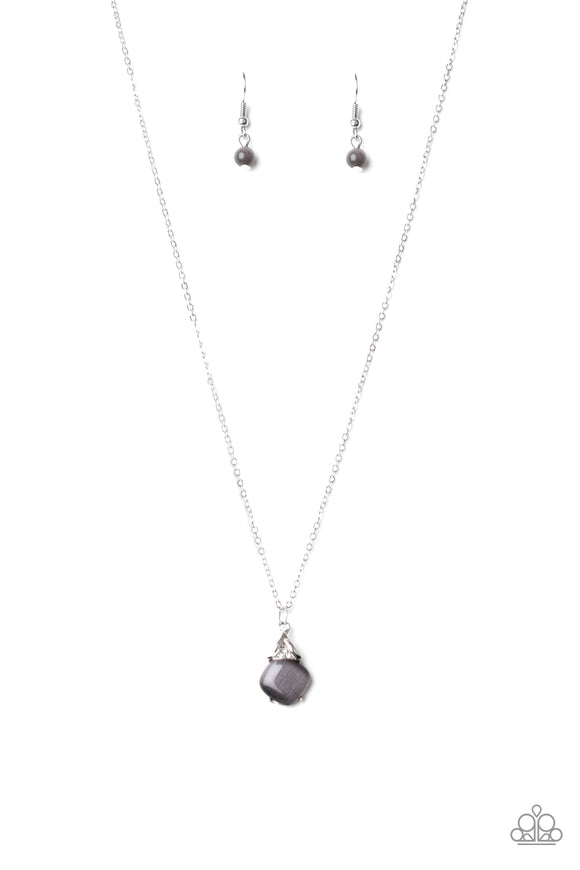 Paparazzi Romantic Razzle - Silver - Cat's Eye Moonstone - Necklace and matching Earrings
