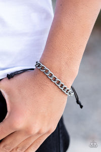 Paparazzi Sideline - Silver - Tin Finished Silver Cable Chain - Black Cording - Sliding Knot Bracelet - Lauren's Bling $5.00 Paparazzi Jewelry Boutique