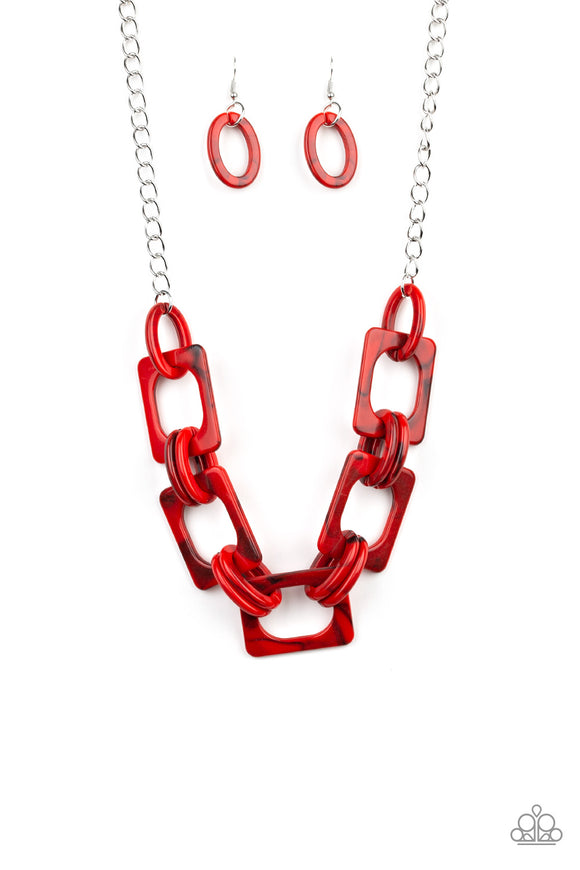 Paparazzi Sizzle Sizzle - Red Acrylic Links - Silver Chain Necklace and matching Earrings