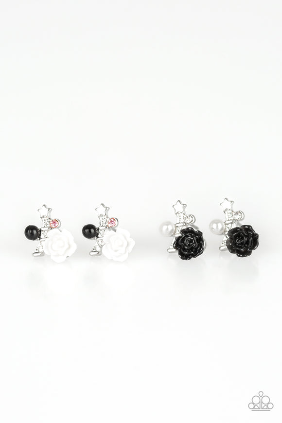 Paparazzi Starlet Shimmer Earrings - 10 - Roses w/Rhinestones and Star - White, Black and Pink