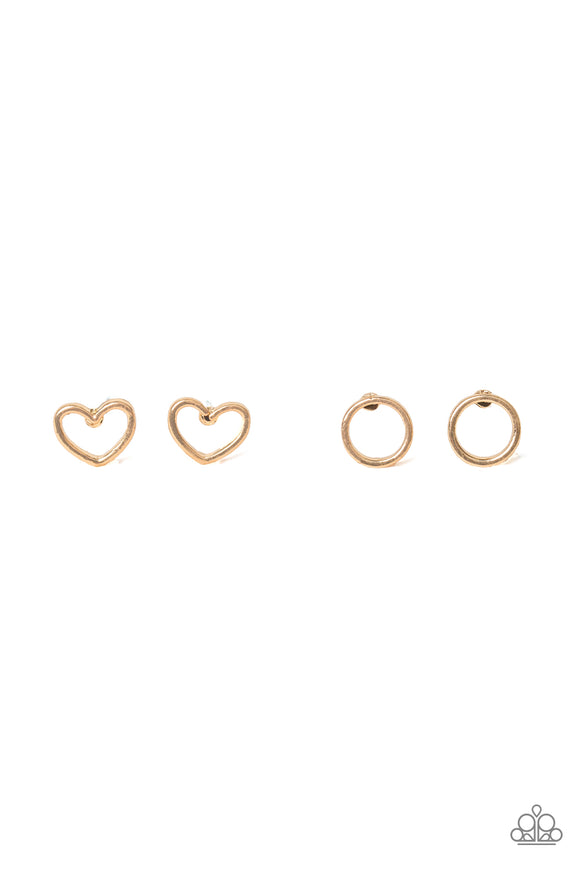 Paparazzi Starlet Shimmer Earrings - 10 - Gold Heart, Circles and Diamond Post Earrings