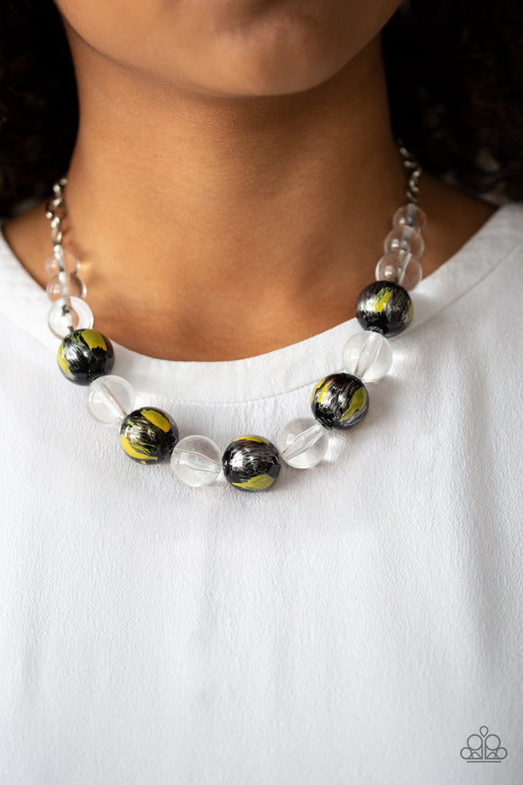 Paparazzi Torrid Tide - Yellow - Shiny Black and Glassy Clear Beads - Necklace and matching Earrings - Lauren's Bling $5.00 Paparazzi Jewelry Boutique
