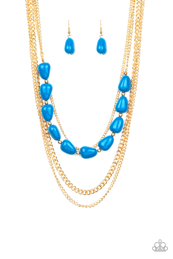 Paparazzi Trend Status - Blue Beads - Gold Chains Necklace and matching Earrings - Lauren's Bling $5.00 Paparazzi Jewelry Boutique