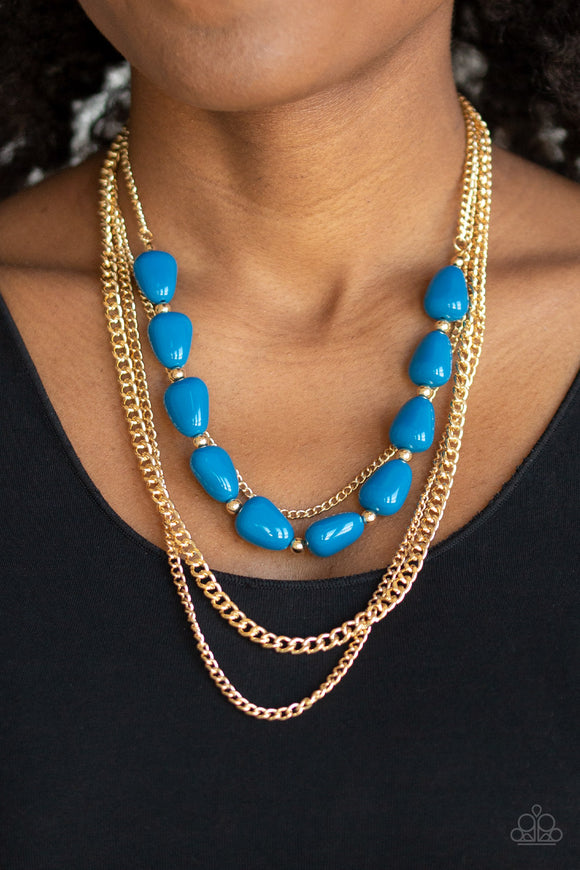 Paparazzi Trend Status - Blue Beads - Gold Chains Necklace & Earrings - Lauren's Bling $5.00 Paparazzi Jewelry Boutique