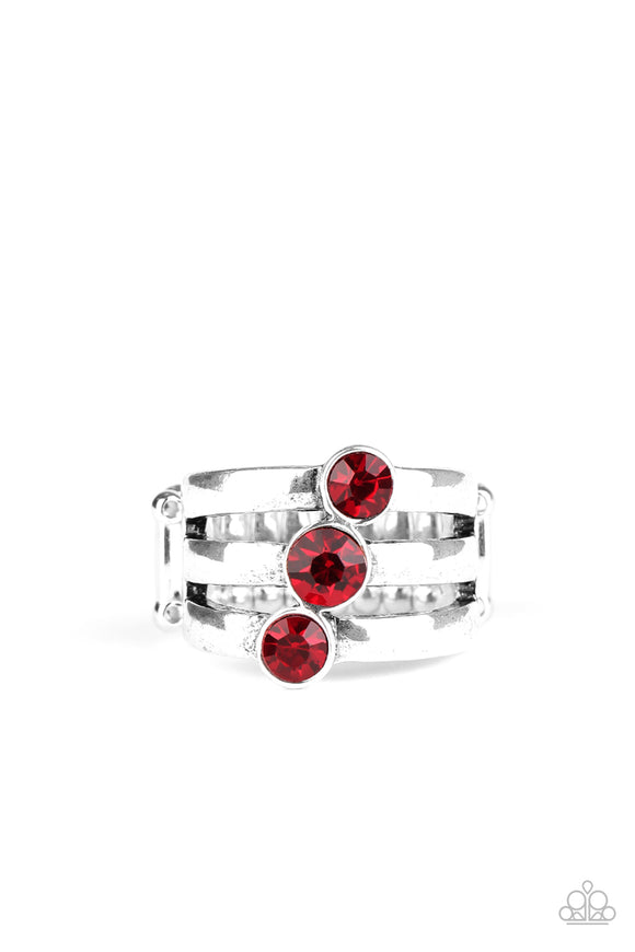 Paparazzi Triple The Twinkle - Red Rhinestones - Ring