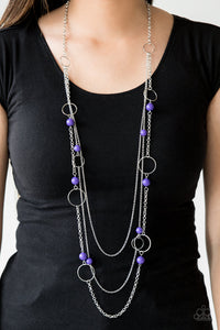 Paparazzi Beachside Babe - Purple Beads - Silver Hoops Necklace & Earrings - Lauren's Bling $5.00 Paparazzi Jewelry Boutique