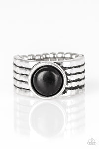 Paparazzi Blooming Badlands - Black Stone - Silver Hammered Ring - Lauren's Bling $5.00 Paparazzi Jewelry Boutique