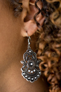 Paparazzi Blooming Bora Bora - Silver - Gray Beads - Leafy Silver Frames - Earrings - Lauren's Bling $5.00 Paparazzi Jewelry Boutique