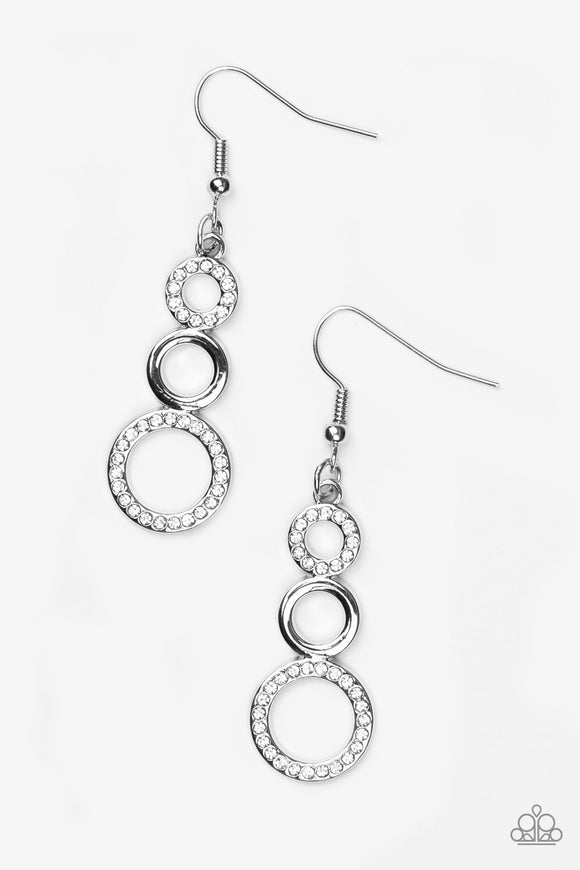 Paparazzi Bubble Bustle - White Rhinestones - Silver Circles - Earrings - Lauren's Bling $5.00 Paparazzi Jewelry Boutique