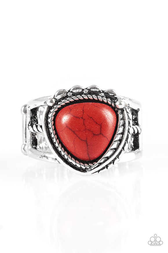 Paparazzi Cliff Climber - Red Stone - Silver Ring - Lauren's Bling $5.00 Paparazzi Jewelry Boutique