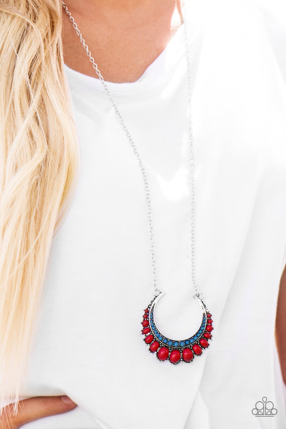 Paparazzi Count To ZEN - Multi - Red and Blue Beads - Necklace and matching Earrings - Lauren's Bling $5.00 Paparazzi Jewelry Boutique