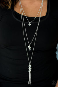 Paparazzi Crystal Cruiser - White - Pearls and Crystal Beads - 3 Silver Chains Necklace & Earrings - Lauren's Bling $5.00 Paparazzi Jewelry Boutique
