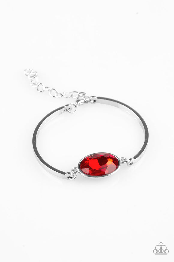 Paparazzi Definitely Dashing - Red Gem - Silver Bracelet - Lauren's Bling $5.00 Paparazzi Jewelry Boutique