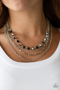 Paparazzi Extravagant Elegance - Multi - Black Beads - Multi Layered Silver Chain Necklace & Earrings - Lauren's Bling $5.00 Paparazzi Jewelry Boutique
