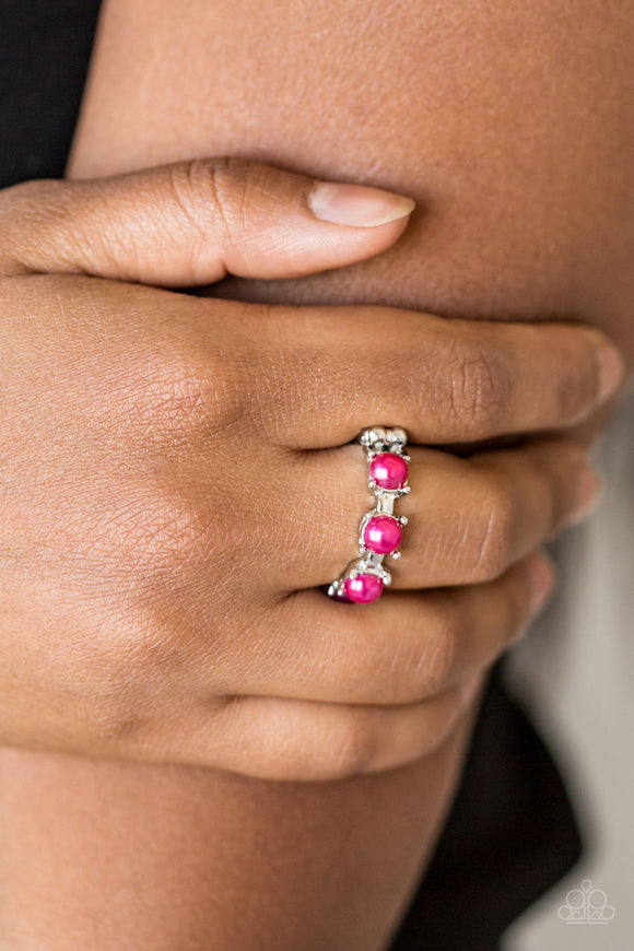 Paparazzi More Or PRICELESS - Pink - Beads - Silver Band Dainty Ring - Lauren's Bling $5.00 Paparazzi Jewelry Boutique