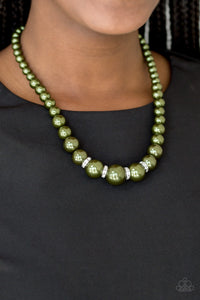 Paparazzi Party Pearls - Green Pearls - White Rhinestones - Necklace and matching Earrings - Lauren's Bling $5.00 Paparazzi Jewelry Boutique
